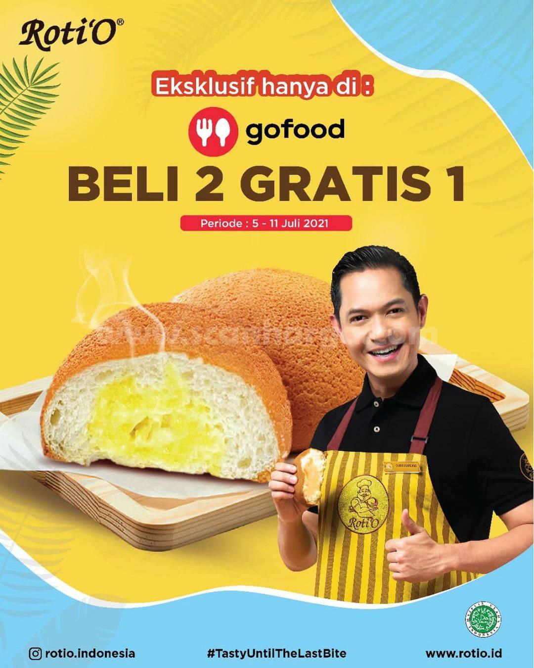 ROTI'O Promo BELI 2 GRATIS 1 Roti O Pesan via GOFOOD