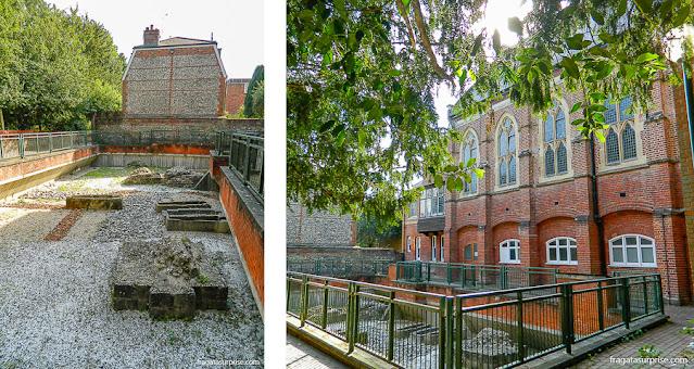 Ruínas de Nunnanminster, abadia do Século 9º em Winchester, Inglaterra