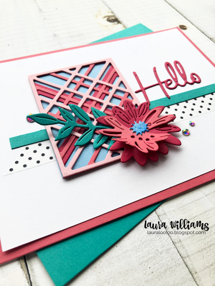 Make a handmade Hello card with Spellbinders Simply Perfect Kaleidoscope Plaid die, Simply Perfect Blooms Dies