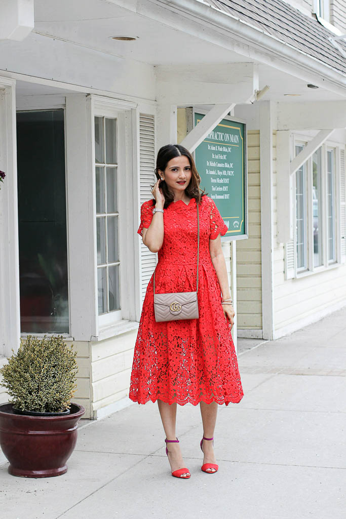 Red Chicwish Crochet Lace Dress Nude Gucci Marmont Matelasse Mini Bag Wallet on a Chain Blogger Outfit Picture