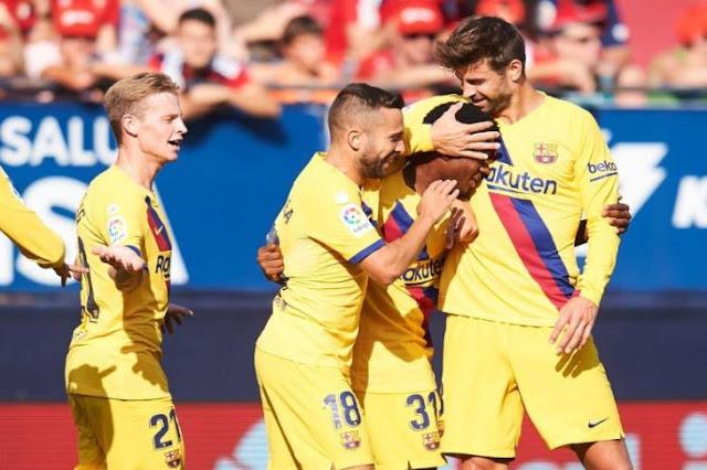 برشلونة ينجو من الخسارة أمام أوساسونا ضمن منافسات الجولة الثالثة من الدوري الإسباني