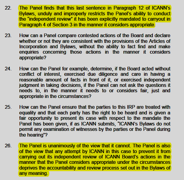 DCA Trust vs ICANN IRP Panel Ruling, April 29, 2015, p. 7
