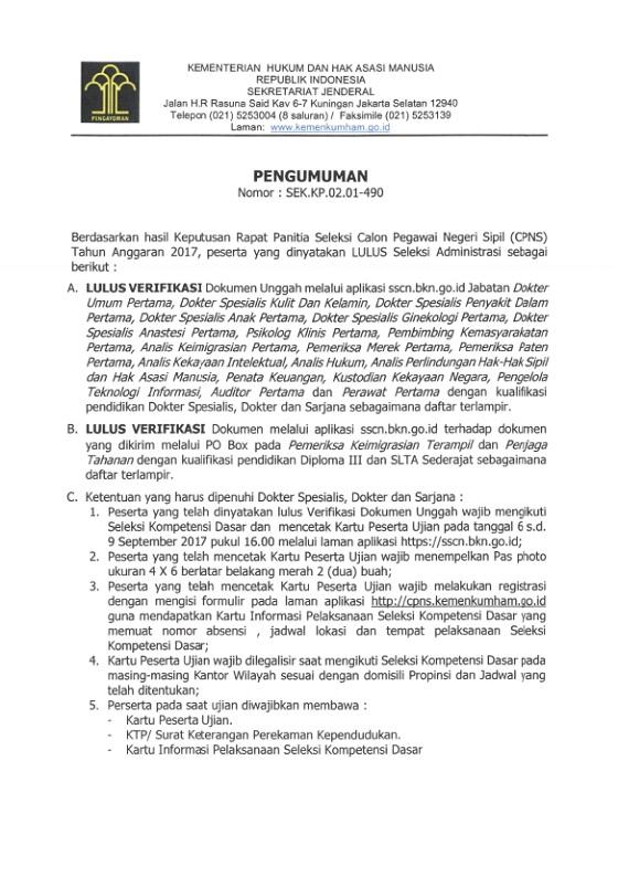 Cek Daftar Nama Lulus Seleksi Administrasi CPNS Kementerian Hukum dan HAM RI (Kemenkumham) Tahun 2017