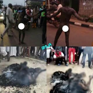 Suspected Member Of Badoo Terror Group Captured And Burnt To Death Today In Jumofak (Photos)