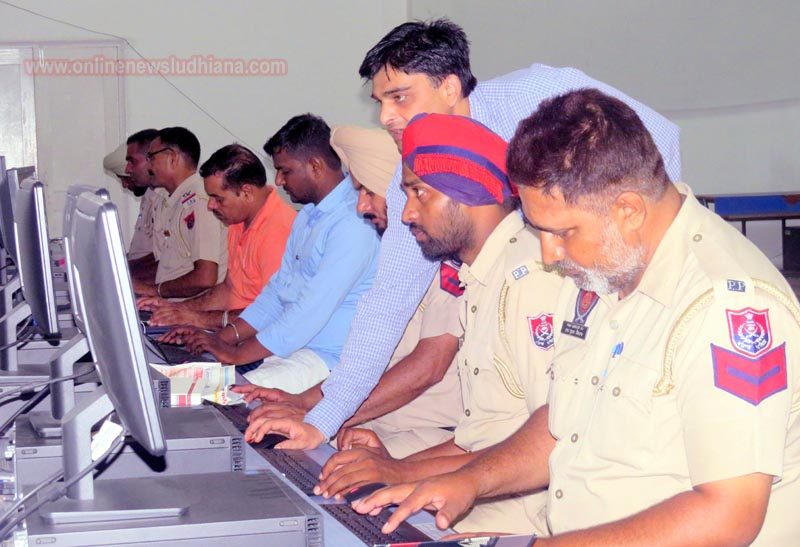 Police personnel learning computer skills during Special Training at LCET