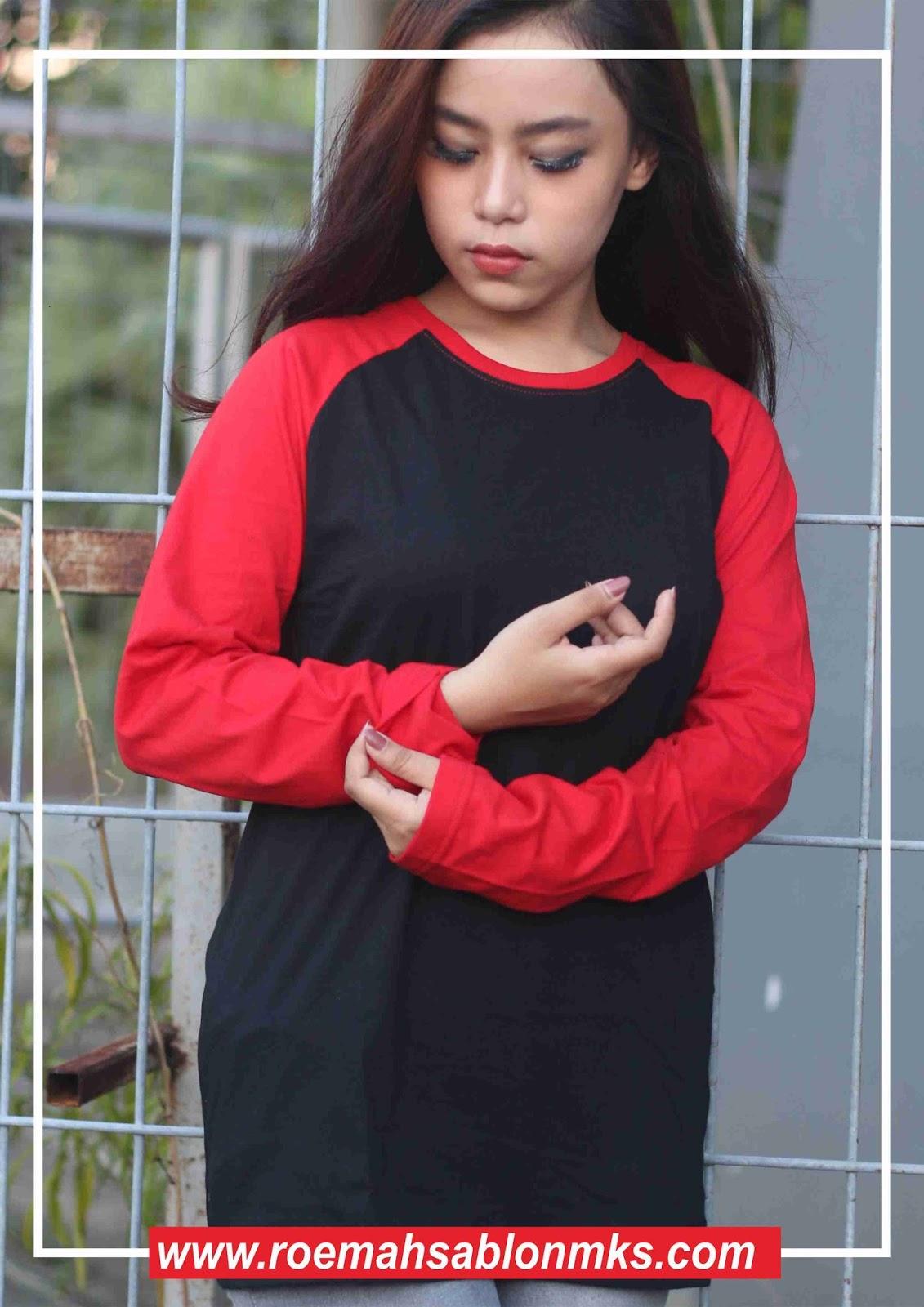 Kaos Polos warna Hitam Merah