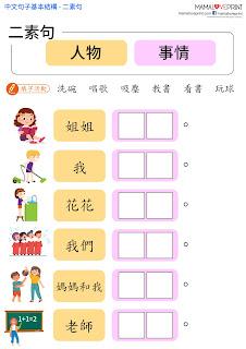 Mama Love Print 自製工作紙 - 中文句子基本結構 - 二素句練習  中文幼稚園工作紙  Kindergarten Chinese Worksheet Free Download