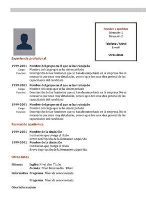 plantilla de pdf de curriculum vitae