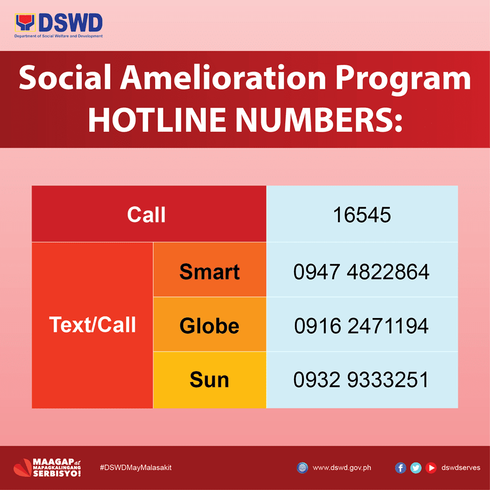 DSWD activates Social Amelioration Program SAP Hotline Numbers