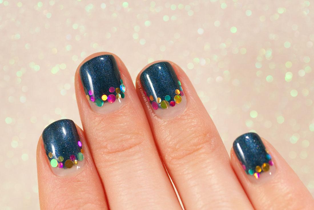 Pink Gellac Marvelous Blue Gel Nail Art with circle glitter half moon design