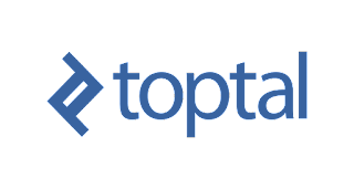 Logo de toptal azul con fondo blanco