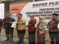 Resmi Ditetapkan Sebagai Gubernur dan Wakil Gubernur Lampung Terpilih, Arinal Djunaidi-Chusnunia Siap Bangun Lampung