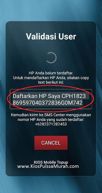 Salin Teks yang muncul di layar aplikasi