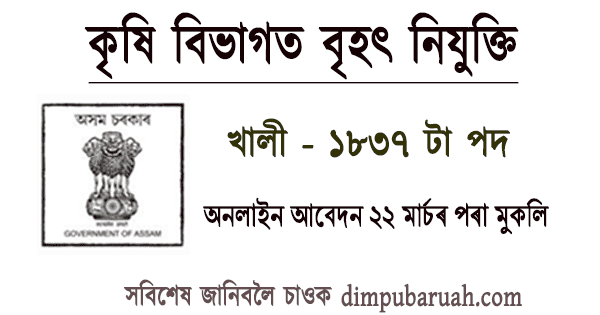 Jobs in Agriculture Department Assam