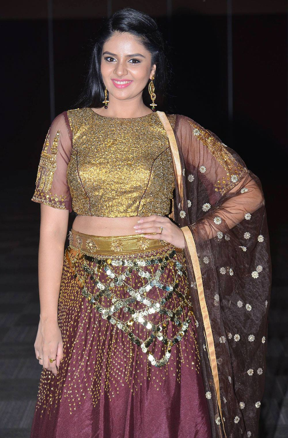 Tv Anchor Sreemukhi Long Hair In Maroon Half Saree