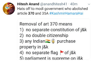 Article 370 removed from kashmir