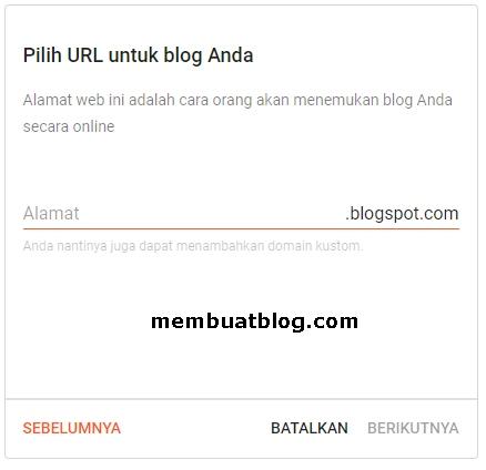 Buat alamat/URL blog