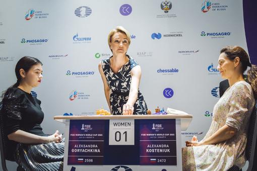 Le match Kosteniuk vs Goryachkina en finale du tournoi féminin de la coupe du monde d'échecs - Photo © FIDE