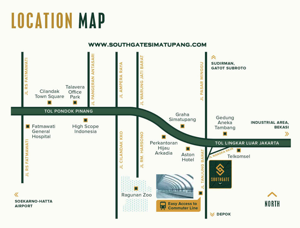 Southgate Apartment Jakarta Selatan Location Map