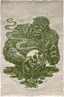 Swamp Thing Linocut Print by Attack Peter x Sideshow Collectibles x DC Comics