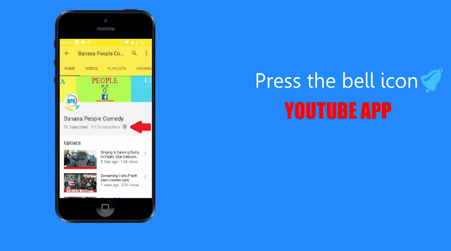 Press the bell icon on your youtube app- easy way to create your own logo