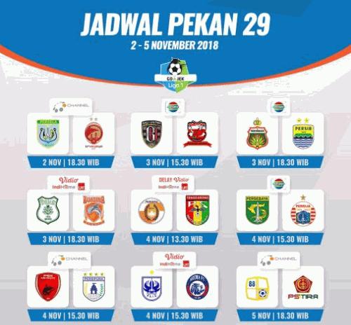 Jadwal Pertandingan Liga 1 2018 Pekan 29 Live di Indosiar
