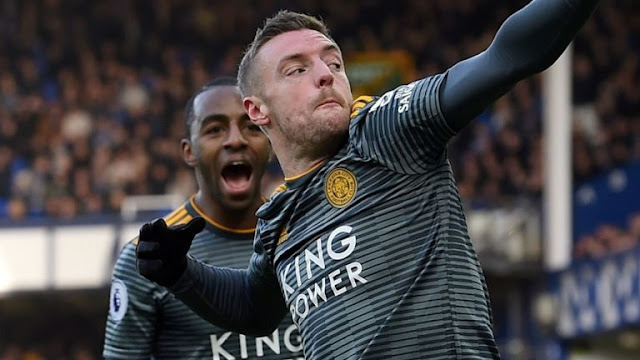 Jamie Vardy Celebrates goal Everton Vs Leicester City