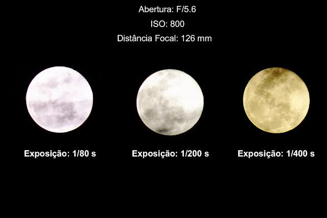 tempo de exposição para fotografar a Lua