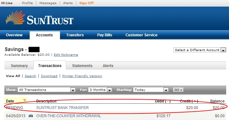 Suntrust Bank Debit Card Fraud