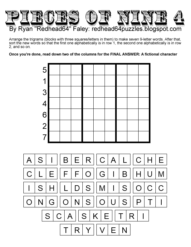 Redhead64's Obscure Puzzle Blog!: 𝗗𝗢𝗨𝗕𝗟𝗘 𝗦𝗘𝗩𝗘𝗡𝗦