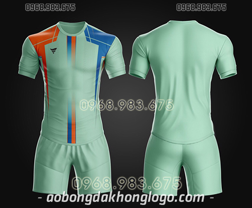 Áo bóng đá ko logo TA Thd màu xanh ngọc