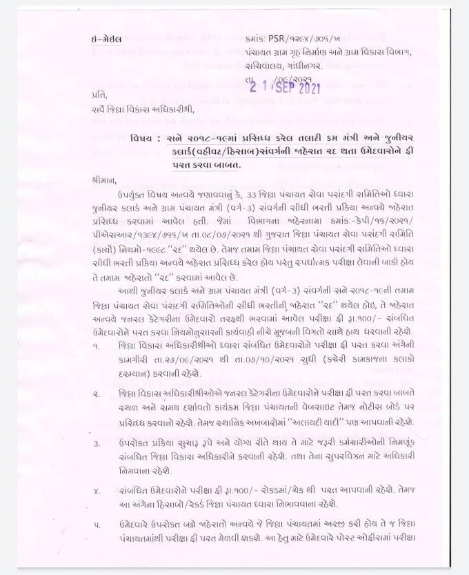 Gujarat panchayat Department 2021