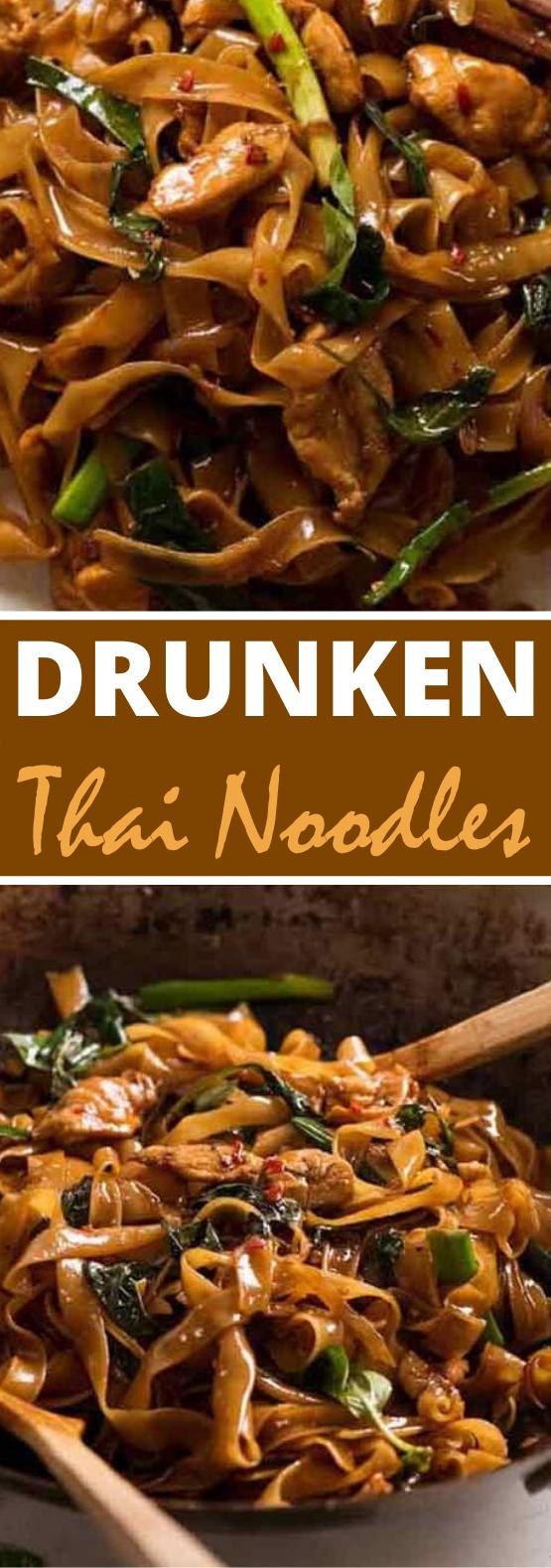 Thai Drunken Noodles (Pad Kee Mao) #dinner #recipes #noodles #thai #takeout