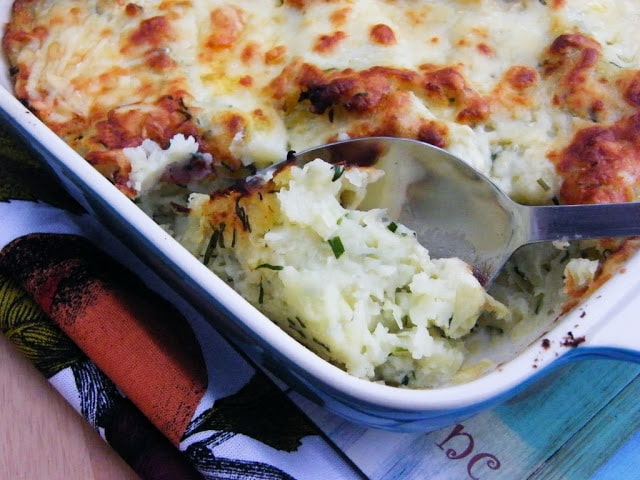 Scottish Rumbledethumps or Scottish Potato & Cabbage Pie in a casserole dish