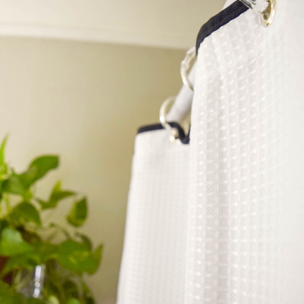 black and white shower curtain update