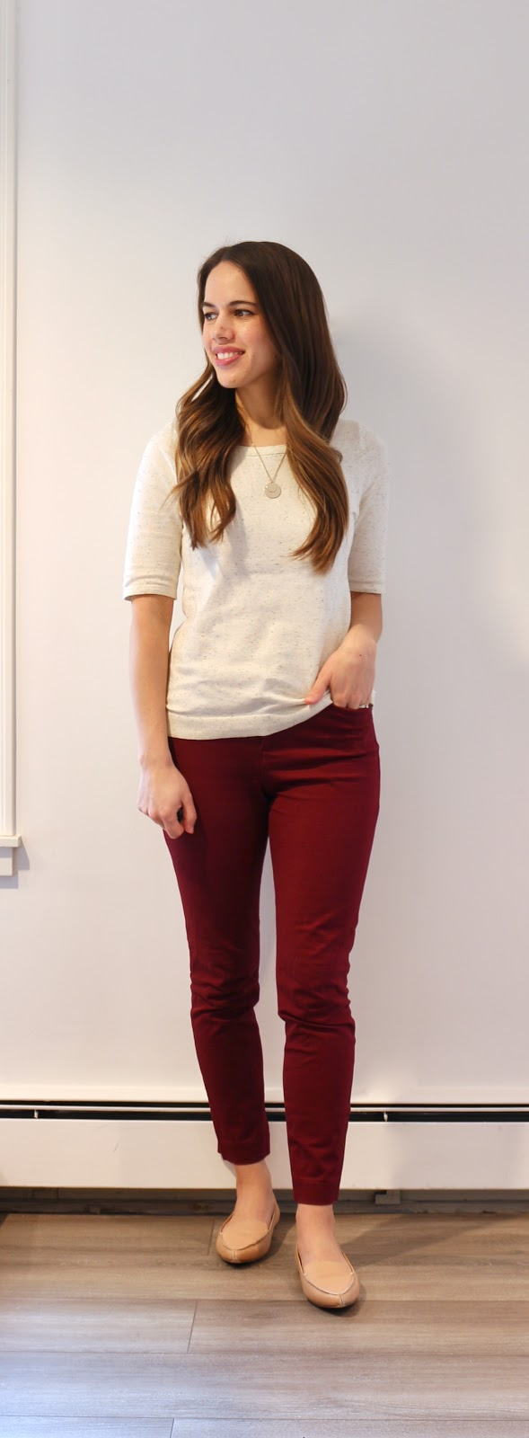 Jules in Flats - H&M Speckled Sweater & Burgundy Pixie Ankle Pants (Business Casual Workwear on a Budget)