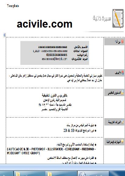 نموذج سيرة ذاتية عربية 2 Doc المهندسون المدنيون العرب