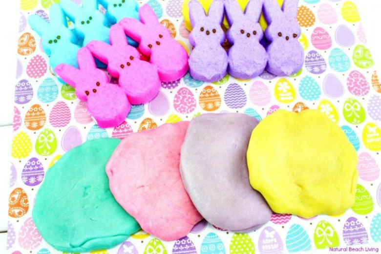 Easter peeps playdough recipe - Easter activities for preschoolers and toddlers