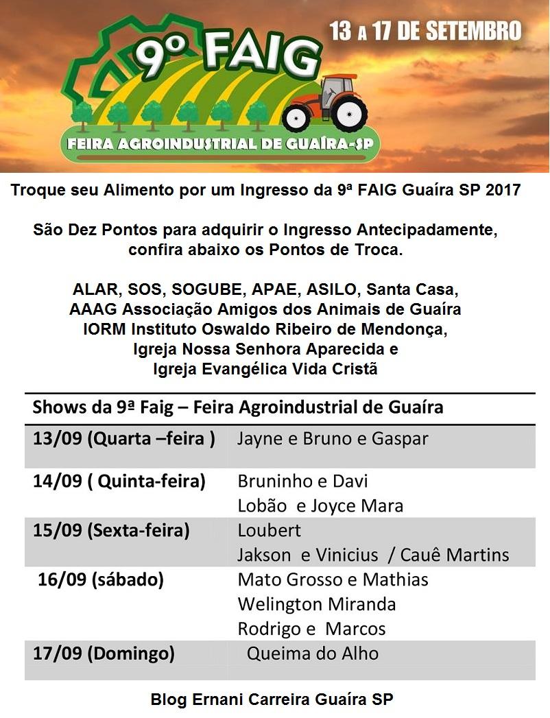 Troca Antecipada de Ingressos 9ª FAIG Guaíra SP