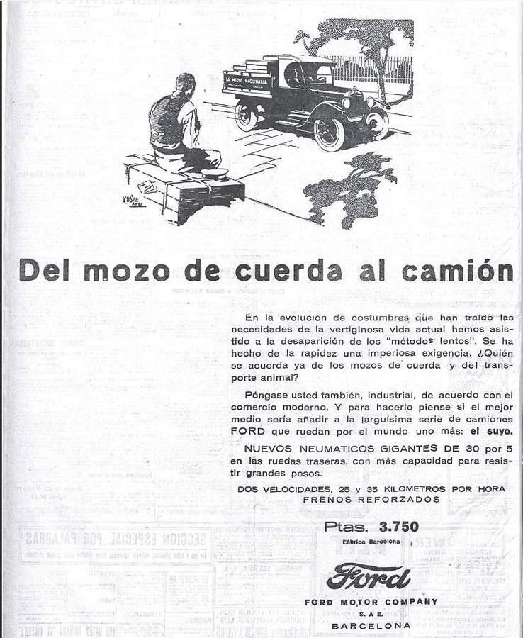 Anuncio precursor de la sustitución del hombre por la máquina en el transporte de objetos (El Heraldo de Madrid, 22/05/1926)