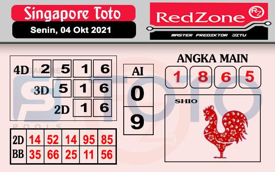 Redzone SGP Senin 04 Oktober 2021