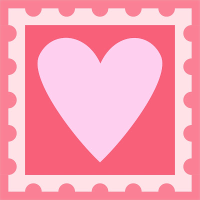 Free heart postage stamp quilt block