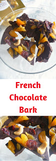 French Chocolate Bark:  Dried apricots, cranberries, and dried cranberries top a mixture of dark and semi-sweet chocolate.  Deep and rich with sweet, tart, and crunchy bites!  WOW! - Slice of Southern