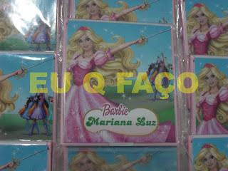 barbie e as três mosqueteiras, brindes da barbie, espelho, lembrancinhas, brindes, festa, infantil