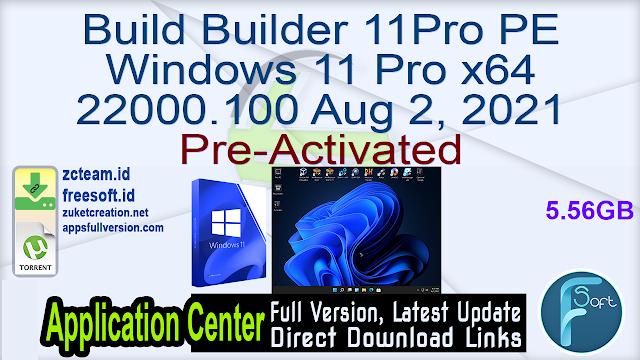 Build Builder 11Pro PE Windows 11 Pro x64 22000.100 Aug 2, 2021 Pre-Activated_ ZcTeam.id