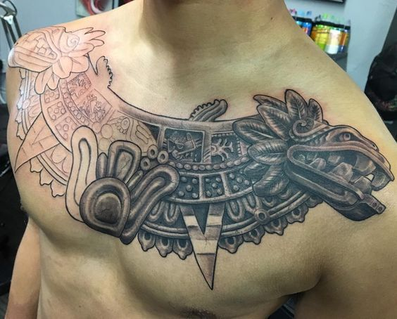 aztec tattoo on chest for men