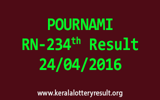 POURNAMI RN 234 Lottery Result 24-4-2016