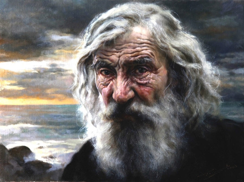 Gianni Strino - Italian Realist painter - Old Man and the Sea