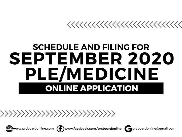 PLE/Medicine Online Application for September 2020 Exam
