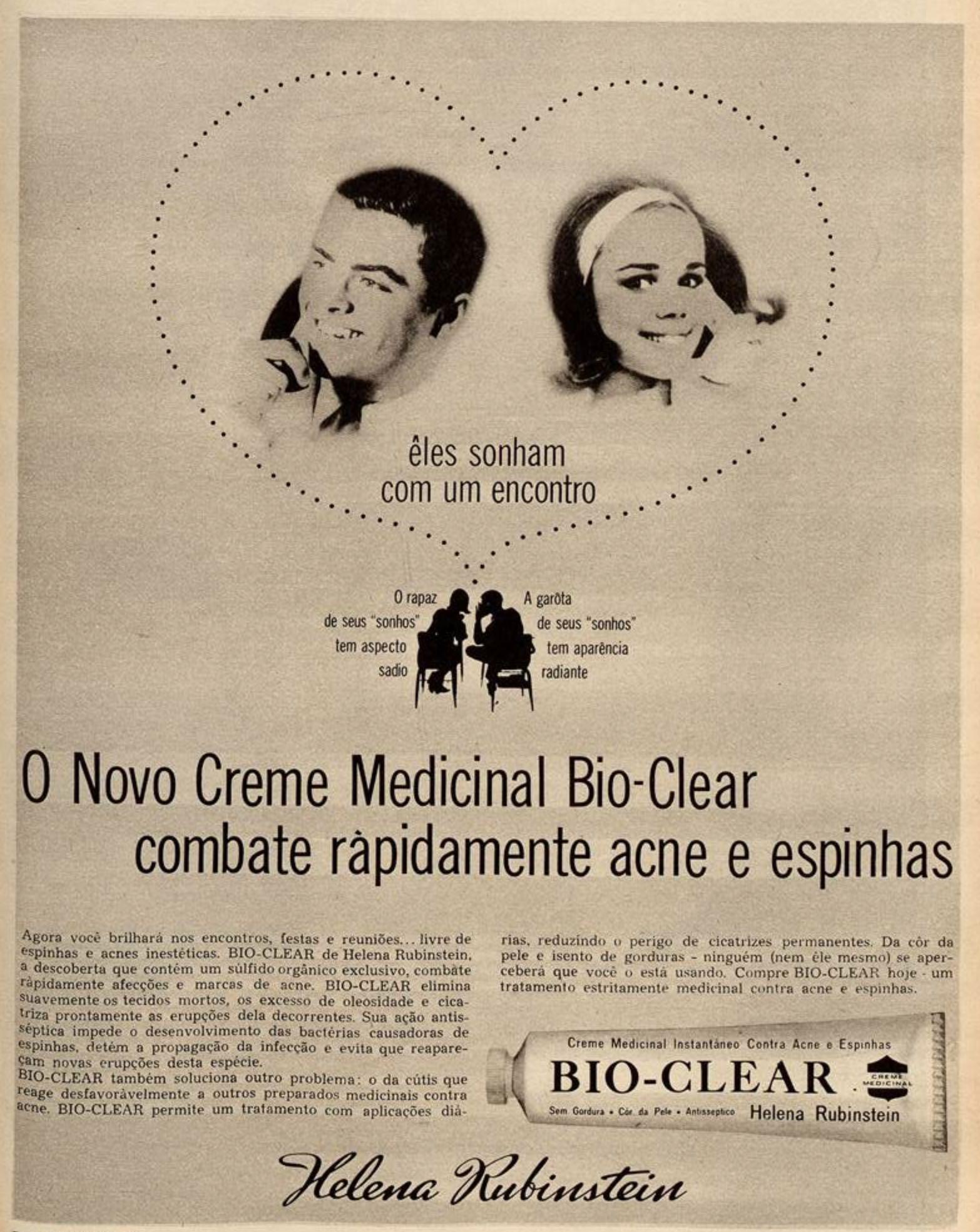 Anúncio de creme para combater as acnes da Helena Rubstein veiculada em 1963